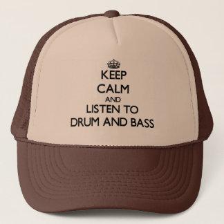 平静を保ち、ドラムをたたくためにおよび低音聞いて下さい キャップ