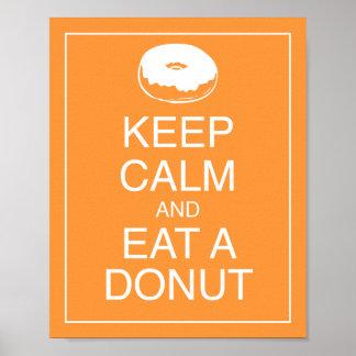 平静を保ち、ドーナツ芸術ポスタープリントを食べて下さい ポスター