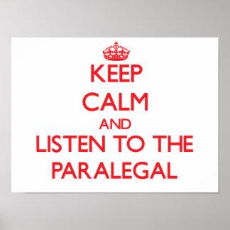 平静を保ち、パラリーガルに聞いて下さい ポスター