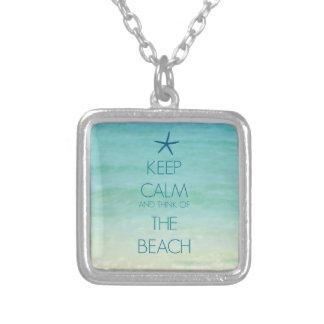 平静を保ち、ビーチのネックレスの考えて下さい シルバープレートネックレス