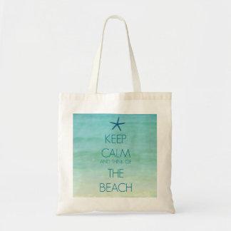 平静を保ち、ビーチのバッグの考えて下さい トートバッグ