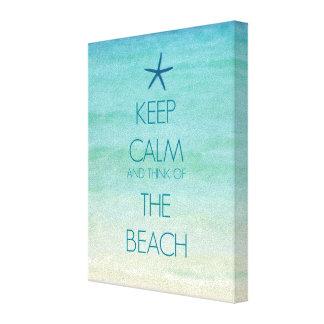 平静を保ち、ビーチの考えて下さい キャンバスプリント