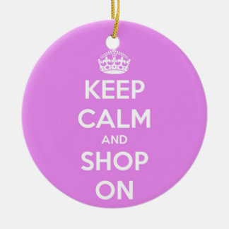 平静を保ち、ピンクで買物をして下さい 陶器製丸型オーナメント
