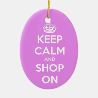 平静を保ち、ピンクで買物をして下さい 陶器製卵型オーナメント
