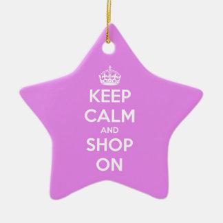 平静を保ち、ピンクで買物をして下さい 陶器製星型オーナメント