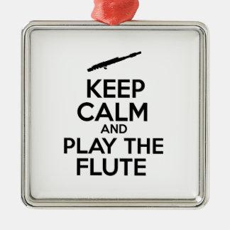 平静を保ち、フルートを演奏して下さい メタルオーナメント