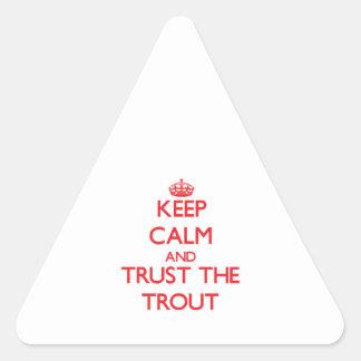 平静を保ち、マスを信頼して下さい 三角形シール