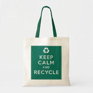平静を保ち、リサイクルして下さい トートバッグ