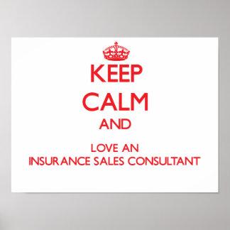 平静を保ち、保険の販売のコンサルタントを愛して下さい ポスター