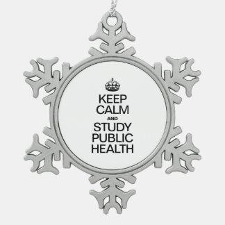 平静を保ち、公衆衛生を調査して下さい スノーフレークピューターオーナメント