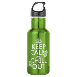 平静を保ち、冷やして下さい(怠惰) (どの色でも) ウォーターボトル