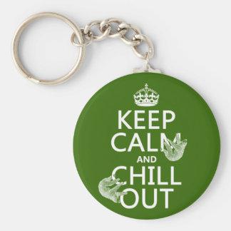 平静を保ち、冷やして下さい(怠惰) (どの色でも) キーホルダー