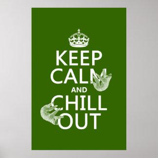 平静を保ち、冷やして下さい(怠惰) (どの色でも) ポスター