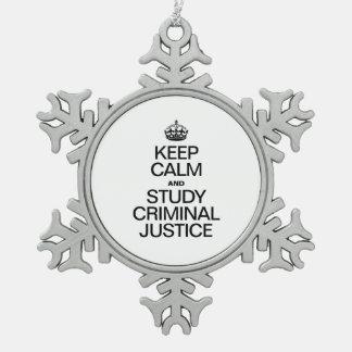 平静を保ち、刑事裁判を調査して下さい スノーフレークピューターオーナメント