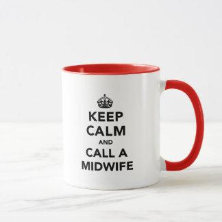 平静を保ち、助産婦を電話して下さい マグカップ