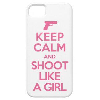 平静を保ち、女の子のIphone 5の例のように撃って下さい iPhone SE/5/5s ケース