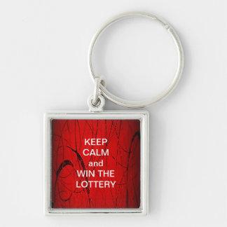 平静を保ち、宝くじの赤いパーティーに勝って下さい シルバーカラー正方形キーホルダー