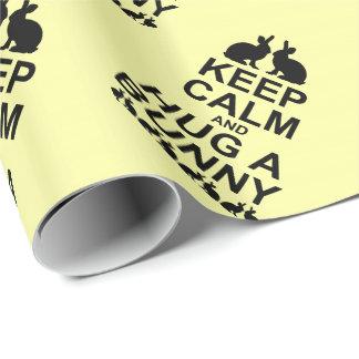 平静を保ち、抱き締めて下さいバニーの包装紙(黄色)を ラッピングペーパー