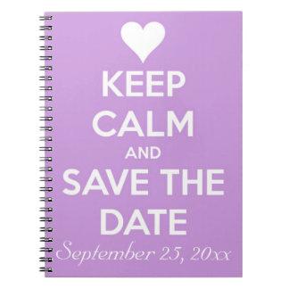 平静を保ち、日付のラベンダーを救って下さい ノートブック