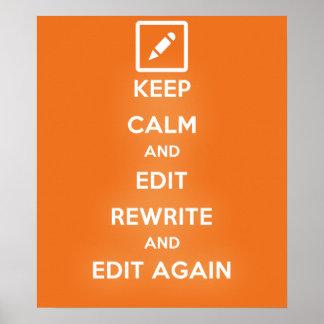 平静を保ち、書直しを編集し、そして再度編集して下さい ポスター