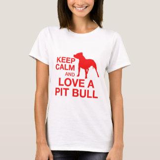 平静を保ち、横のピットを-赤愛して下さい Tシャツ