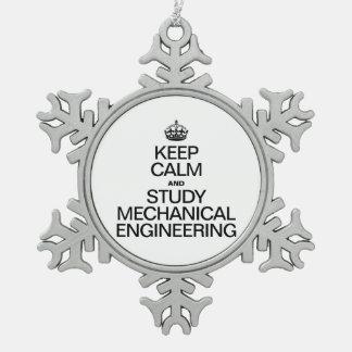 平静を保ち、機械工学者を調査して下さい スノーフレークピューターオーナメント