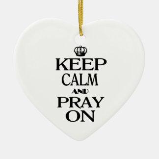 平静を保ち、祈って下さい セラミックオーナメント