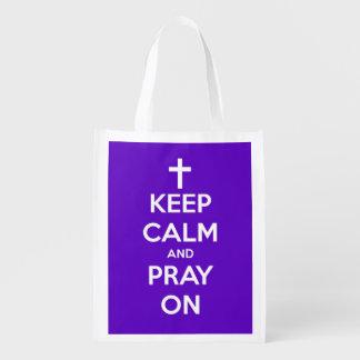 平静を保ち、紫色の名前入りなバッグで祈って下さい エコバッグ