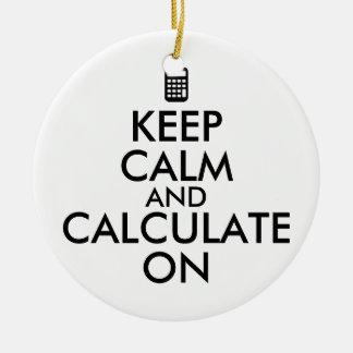 平静を保ち、計算機のカスタムで計算して下さい セラミックオーナメント