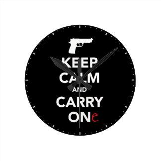 平静を保ち、銃を運んで下さい ラウンド壁時計