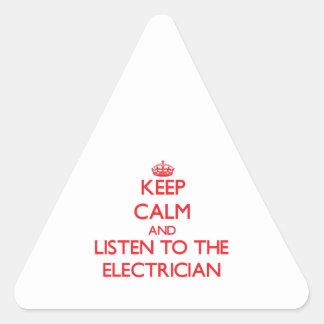 平静を保ち、電気技師に聞いて下さい 三角形シール