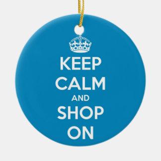 平静を保ち、青で買物をして下さい 陶器製丸型オーナメント