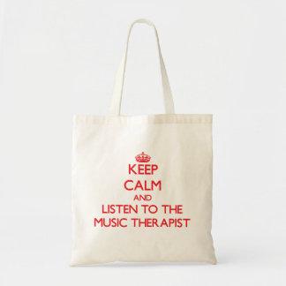平静を保ち、音楽セラピストに聞いて下さい トートバッグ