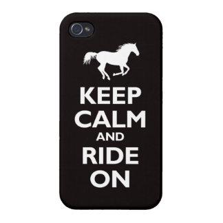 平静を保ち、(馬) -黒乗って下さい iPhone 4/4Sケース