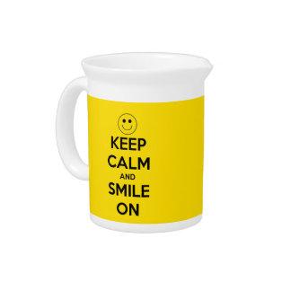 平静を保ち、黄色で微笑させて下さい ピッチャー