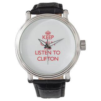 平静を保ち、Cliftonに聞いて下さい 腕時計