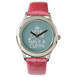 平静を保ち、Cuppa -すべての色--を持って下さい 腕時計