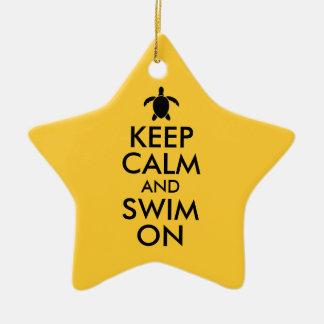 平静を保ち、Honuのウミガメのカスタムで泳いで下さい セラミックオーナメント