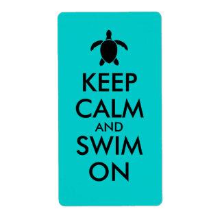 平静を保ち、Honuのウミガメのカスタムで泳いで下さい ラベル