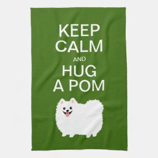 平静を保ち、Pom -かわいく白いポメラニア犬--を抱き締めて下さい キッチンタオル