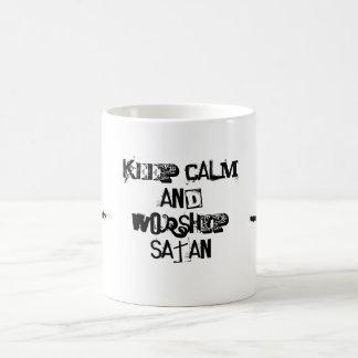 平静を保ち、satanと飲んで下さい コーヒーマグカップ