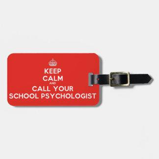 平静を保って下さい及びあなたのSchを呼んで下さい。 Psych。 赤い荷物のラベル ラゲッジタグ