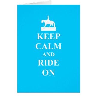 平静を保って下さい及びで乗って下さい(淡いブルー) カード