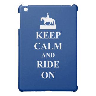 平静を保って下さい及びで乗って下さい(青) iPad MINIケース
