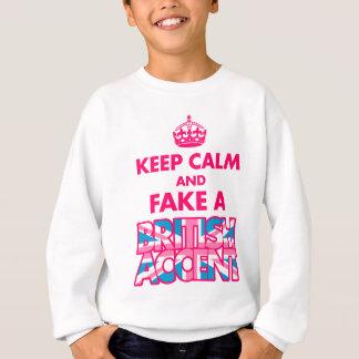 平静を保って下さい及びイギリスのアクセントの女の子のスエットシャツを偽造して下さい スウェットシャツ