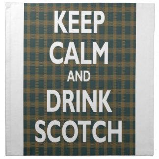 平静を保って下さい及びスコットランドを飲んで下さい ナプキンクロス