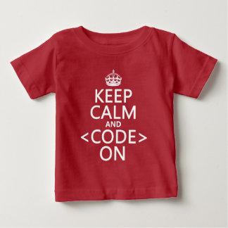 平静を保って下さい <Code> オンすべての色 ベビーTシャツ