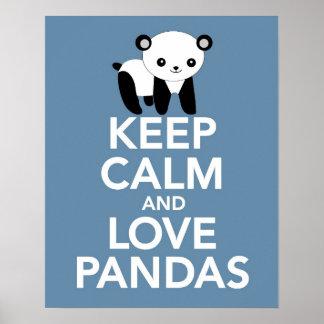 平静を保てば愛パンダは青でまたはポスター印刷します ポスター