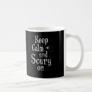 平静を恐い、黒いSpiderwebハロウィン保てば コーヒーマグカップ