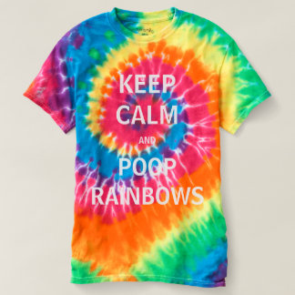 平静及びウンチの虹の絞り染めのTシャツを保って下さい Tシャツ